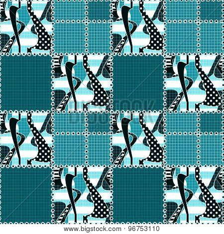 Patchwork Seamless Pattern Ornament Striped Design Background