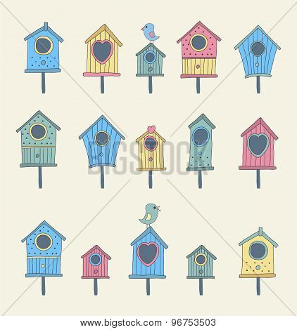 A set of hand drawn bird houses