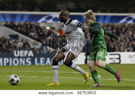 LONDON ENGLAND, November 11 2010: Tottenham's defender William Gallas and Werder Bremen's Marko Marin in action during the UEFA Champions League match between Tottenham Hotspur FC and Werder Bremen