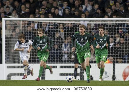 LONDON ENGLAND, November 11 2010: Werder Bremen's Aaron Hunt, Per Mertesacker  and Sebastian Prodl in action during the UEFA Champions League match between Tottenham Hotspur FC and Werder Bremen,