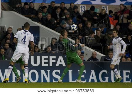 LONDON ENGLAND, November 11 2010: Tottenham's Younes Kaboul, Bremen's Sandro Wagner and Gareth Bale in action during the UEFA Champions League match between Tottenham Hotspur FC and Werder Bremen