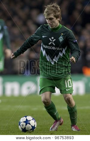 LONDON ENGLAND, November 11 2010: Werder Bremen's midfielder Marko Marin in action during the UEFA Champions League match between Tottenham Hotspur FC and Werder Bremen