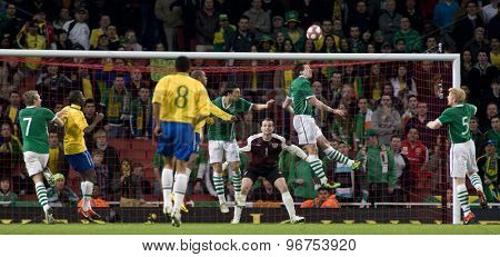 LONDON, ENGLAND. March 02 2010: Goal-mouth action at the Ireland end during the international football friendly between Brazil and the Republic of Ireland played at the Emirates Stadium.