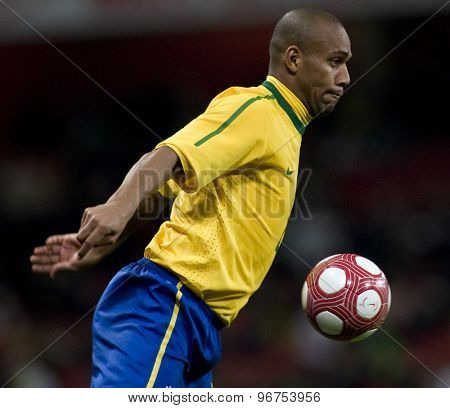 LONDON, ENGLAND. March 02 2010: Brazil's Maicon during the international football friendly between Brazil and the Republic of Ireland played at the Emirates Stadium.