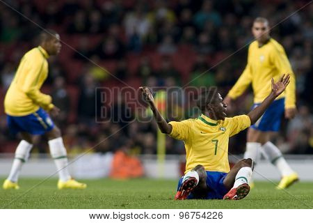 LONDON, ENGLAND. March 02 2010: Brazil's Ramirez appeals for a free kick during the international football friendly between Brazil and the Republic of Ireland played at the Emirates Stadium.