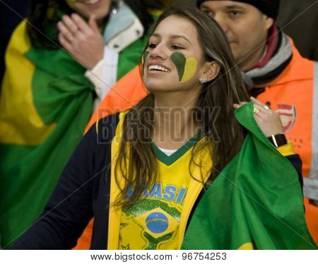 LONDON, ENGLAND. March 02 2010: A Brazil fan during the international football friendly between Brazil and the Republic of Ireland played at the Emirates Stadium.