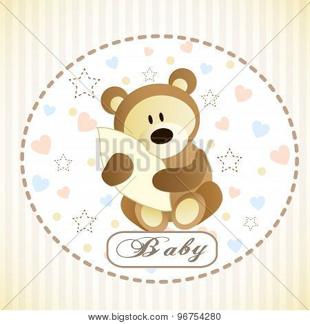 Vector of cute brown bear hiding by blanket.