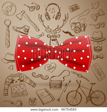 the bow tie with hand-drawn Hipster style elements