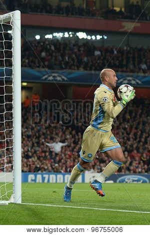 LONDON, ENGLAND - Oct 01 2013: Napoli's goalkeeper Pepe Reina from Spain during the UEFA Champions League match between Arsenal and Napoli.