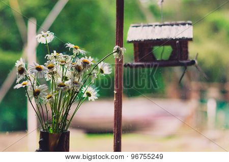 a bouquet of daisies in a vase on a window sill in a country house