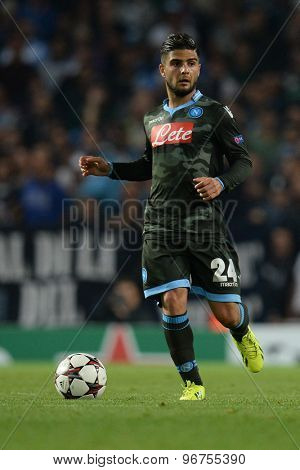 LONDON, ENGLAND - Oct 01 2013: Napoli's forward Lorenzo Insigne from Italy during the UEFA Champions League match between Arsenal and Napoli.