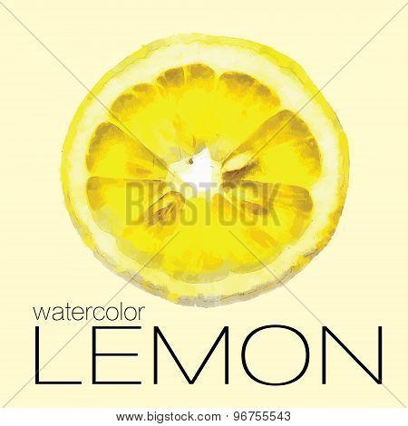 Hand drawn watercolor painting slice of lemon