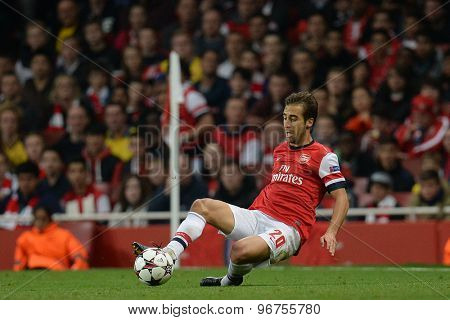 LONDON, ENGLAND - Oct 01 2013: Arsenal's midfielder Mathieu Flamini from France  during the UEFA Champions League match between Arsenal and Napoli.