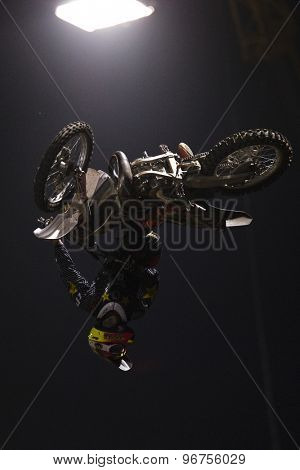 LONDON, ENGLAND. Aug 22 2009: Battersea London; Jeremy Stenberg (USA) competing the Red Bull X Fighters International Freestyle Motocross