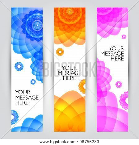 Vector banners set. Floral and plant backgrounds collection.