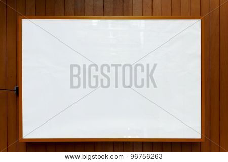 Wooden frame with white background for your text message presentation information or content