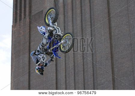 LONDON, ENGLAND. Aug 21 2009: Battersea London; A Competitor during the official training session for the Red Bull X Fighters International Freestyle Motocross