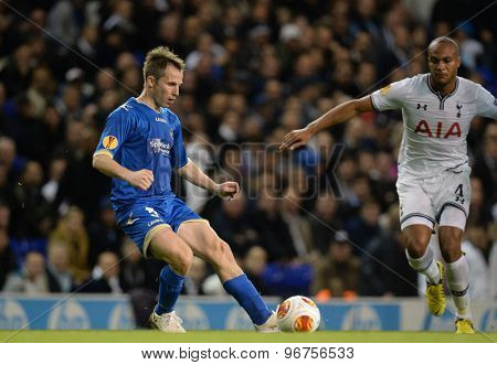 LONDON, ENGLAND - September 19 2013: Tromso's Jaroslaw Fojut  during the UEFA Europa League match between Tottenham Hotspur and Tromso played at The White Hart Lane Stadium.