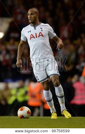 LONDON, ENGLAND - September 19 2013: Tottenham's Younes Kaboul  during the UEFA Europa League match between Tottenham Hotspur and Tromso played at The White Hart Lane Stadium.