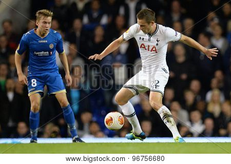 LONDON, ENGLAND - September 19 2013: Tottenham's Gylfi Sigurosson  during the UEFA Europa League match between Tottenham Hotspur and Tromso played at The White Hart Lane Stadium.