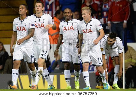 LONDON, ENGLAND - September 19 2013:  Tottenham's Jermain Defoe celebrates with his team mates after scoring a goal during the UEFA Europa League match between Tottenham Hotspur and Tromso
