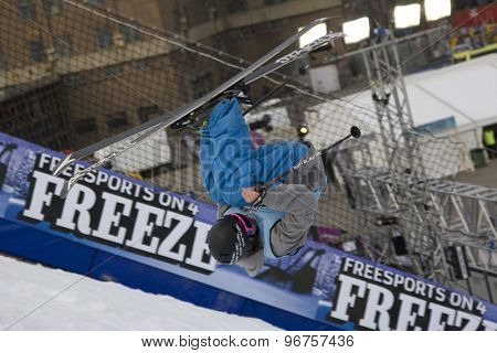LONDON, ENGLAND. October 30 2009 A competitor takes to the air during the Battle of Britain Big Air freestyle skiing competition at the London Freeze snowboard and freestyle skiing event.