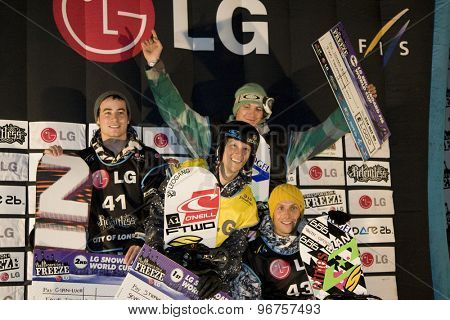 LONDON, ENGLAND. October 31 2009 GianLuca CAVIGELLI SUI  Stefan GIMPL AUT  Domen BIZJAK SLO  and Matevz PRISTAVEC SLO at the prize giving for the LG FIS Snowboard World Cup,