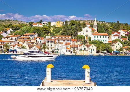 Luxury Yacht And Adriatic Town Of Rogoznica