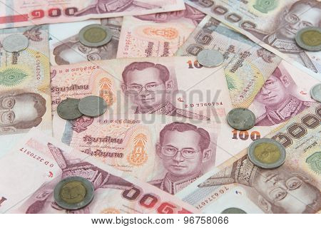 Random Thai Baht coins and banknotes