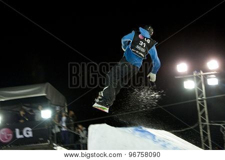 LONDON, ENGLAND. October 31 2009 Janne KORPI FIN takes to the air  in the final round of the LG FIS Snowboard World Cup Big Air Event, at the London Freeze snowboard and freestyle skiing event