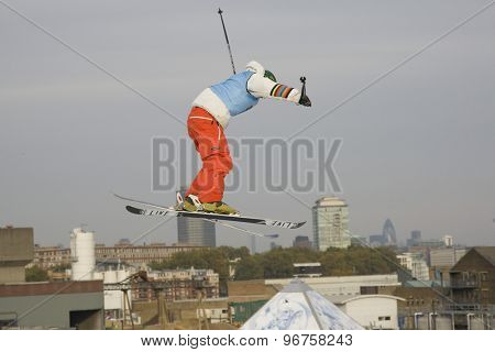 LONDON, ENGLAND. October 30 2009 A competitor during the training run for the Battle of Britain Big Air freestyle skiing competition at the London Freeze snowboard and freestyle skiing event.