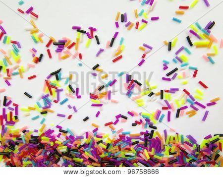 Festive Colorful Confetti On White Background