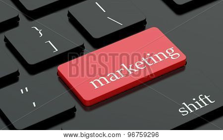 Marketing Concept, Red Hot Key On  Keyboard