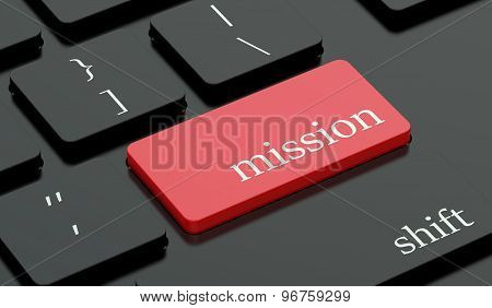 Mission Concept, Red Hot Key On Keyboard