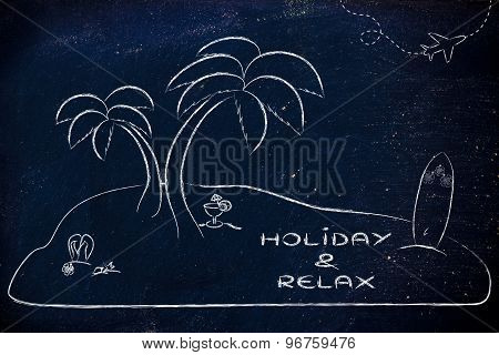 Desert Island With Text Holiday & Relax