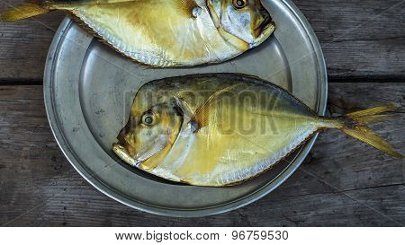 Smoked Fish Vomer On The Plate Closeup