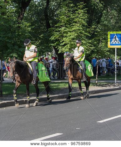 Donetsk, Ukraine - June 11, 2012: Police On Horseback Patrolling The Streets During The European Foo
