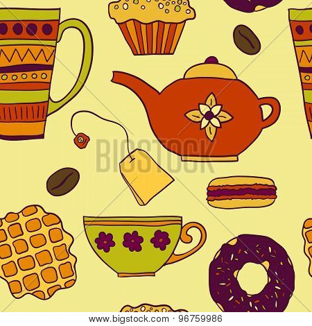 Seamless Pattern With Tea  And Sweets
