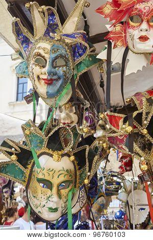 VERONA, ITALY - JULY 13: Detail of Venetian carnaval masks in for sale in shop. July 13, 2015 in Verona.