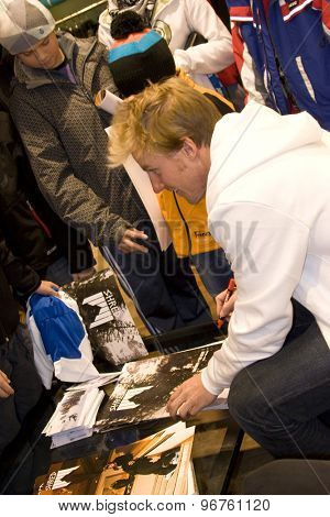 SOELDEN, AUSTRIA Oct 23 2009 Ted Ligety (USA) at a press conference and autograph signing, prior to the Audi FIS Alpine Ski World Cup