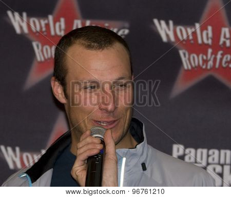 SOELDEN, AUSTRIA Oct 23 2009 Aksel Lund Svindal (NOR) at a press conference and autograph signing, prior to the Audi FIS Alpine Ski World Cup