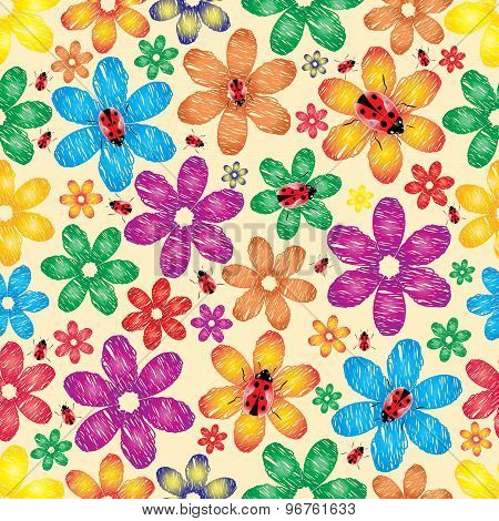 Spring A Background With Flowers And Ladybirds.vector