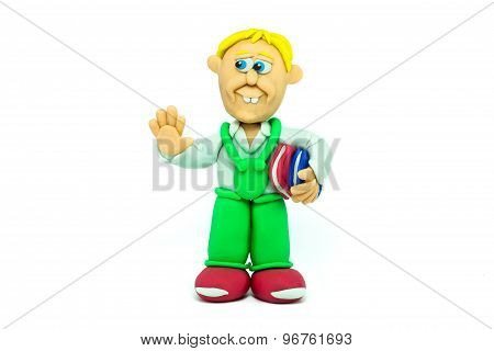 Student boy made in plasticine greeting