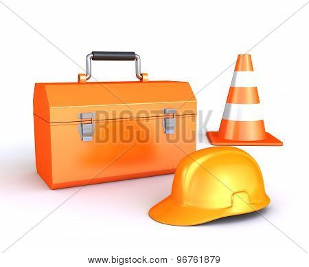 Tool Box, Helmet And Cone Isolated On White Background