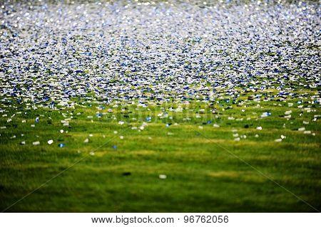 Confetti On A Soccer Field