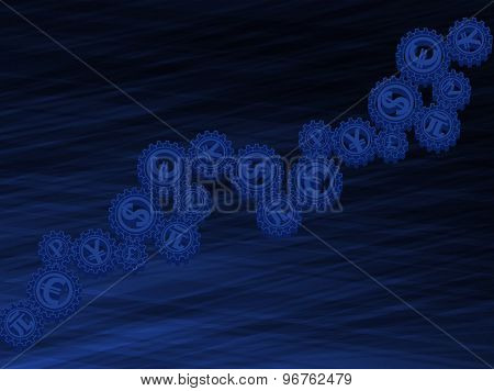 Abstract dark blue background with the currency symbols