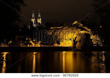 Vysehrad From River Side With Basilica Towers In The Night, Czech Republic