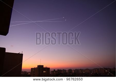 Work Antimissile System Iron Dome Against The Sunset