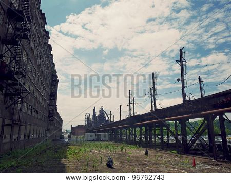 Factory and Train Tracks