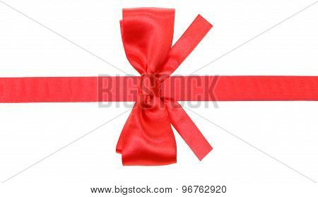 Real Red Bow With Square Cut Ends On Silk Ribbon